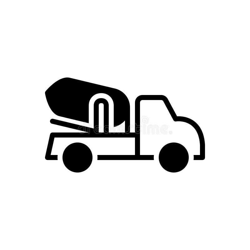 Zwart stevig pictogram voor Cementvrachtwagen, bouw en architectuur vector illustratie