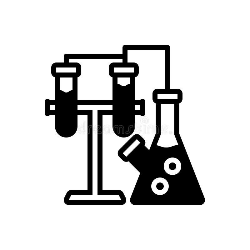 Zwart stevig pictogram voor Chemie, experiment en laboratorium stock illustratie