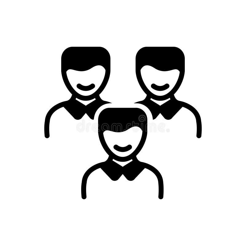 Zwart stevig pictogram voor Cliënten, klant en mensen vector illustratie