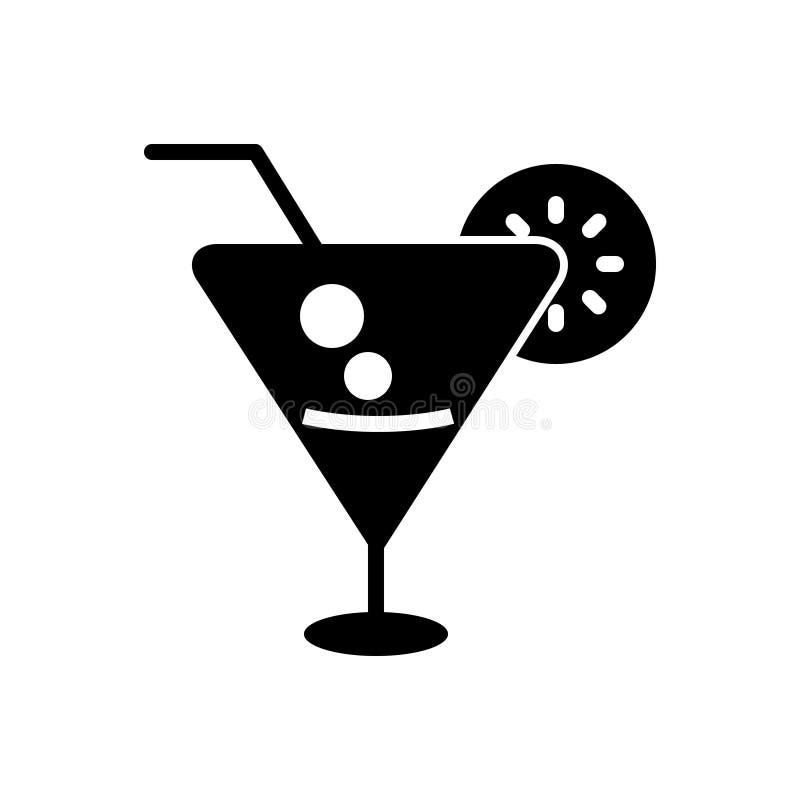 Zwart stevig pictogram voor Cocktailkalk, drank en voedsel royalty-vrije illustratie
