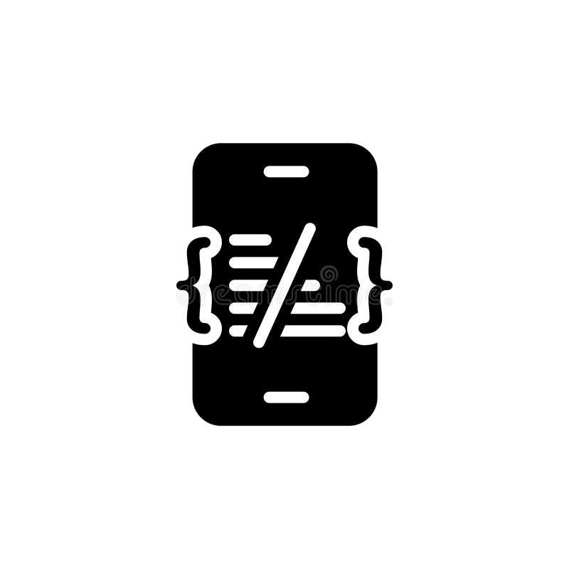 Zwart stevig pictogram voor Codage, software en HTML royalty-vrije illustratie