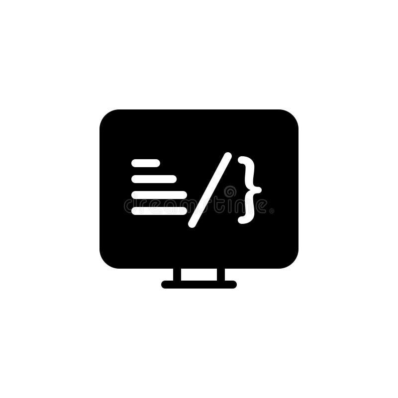 Zwart stevig pictogram voor Codage, software en programmering stock illustratie