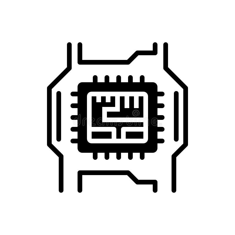 Zwart stevig pictogram voor Computerhardware, elektronisch en kring vector illustratie
