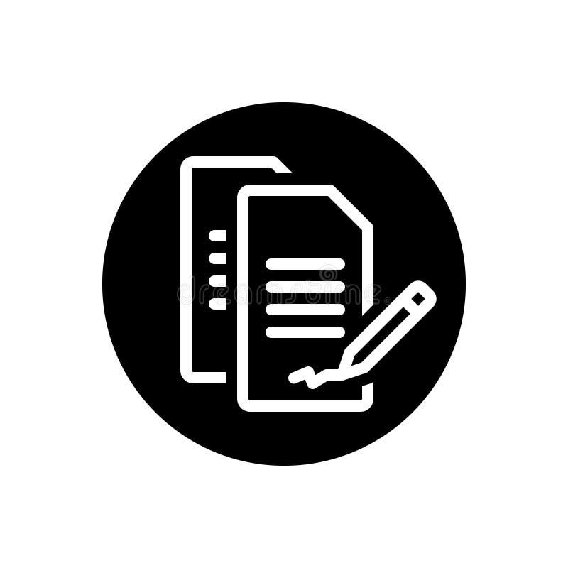 Zwart stevig pictogram voor Contract, overeenkomst en aanhangsel royalty-vrije illustratie