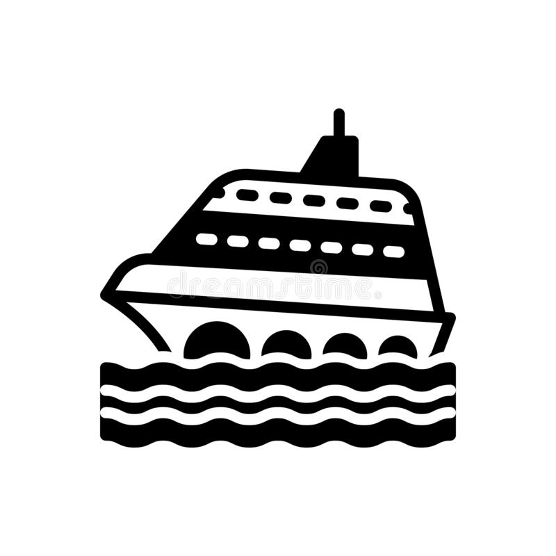 Zwart stevig pictogram voor Cruise, schip en reis vector illustratie