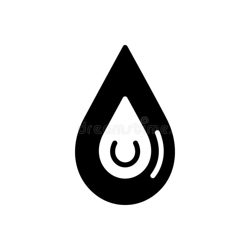 Zwart stevig pictogram voor Daling, vlek en druppeltje vector illustratie