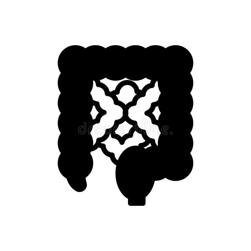 Zwart stevig pictogram voor Darm, voedings en spijsverterings vector illustratie