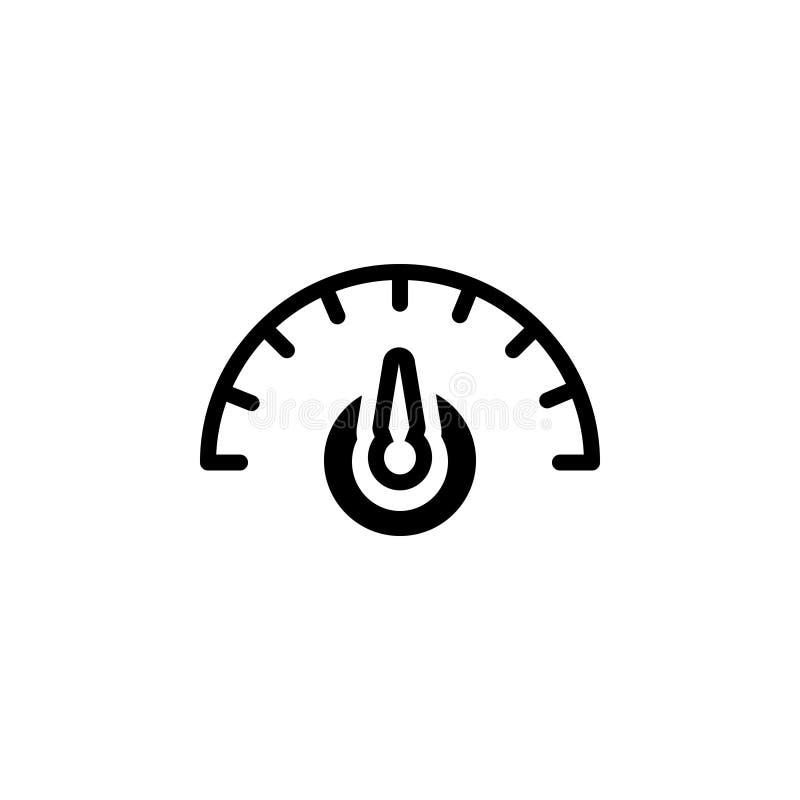Zwart stevig pictogram voor Dashboard, snelheidsmeter en snelheid stock illustratie