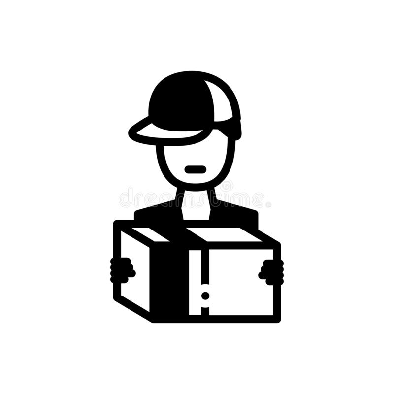 Zwart stevig pictogram voor de Leveringsmens, beroep en handelaar stock illustratie