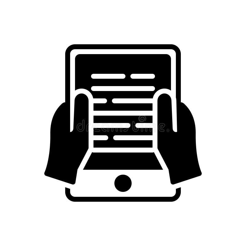Zwart stevig pictogram voor de Lezing, de kennis en het publiceren van Ebook stock illustratie