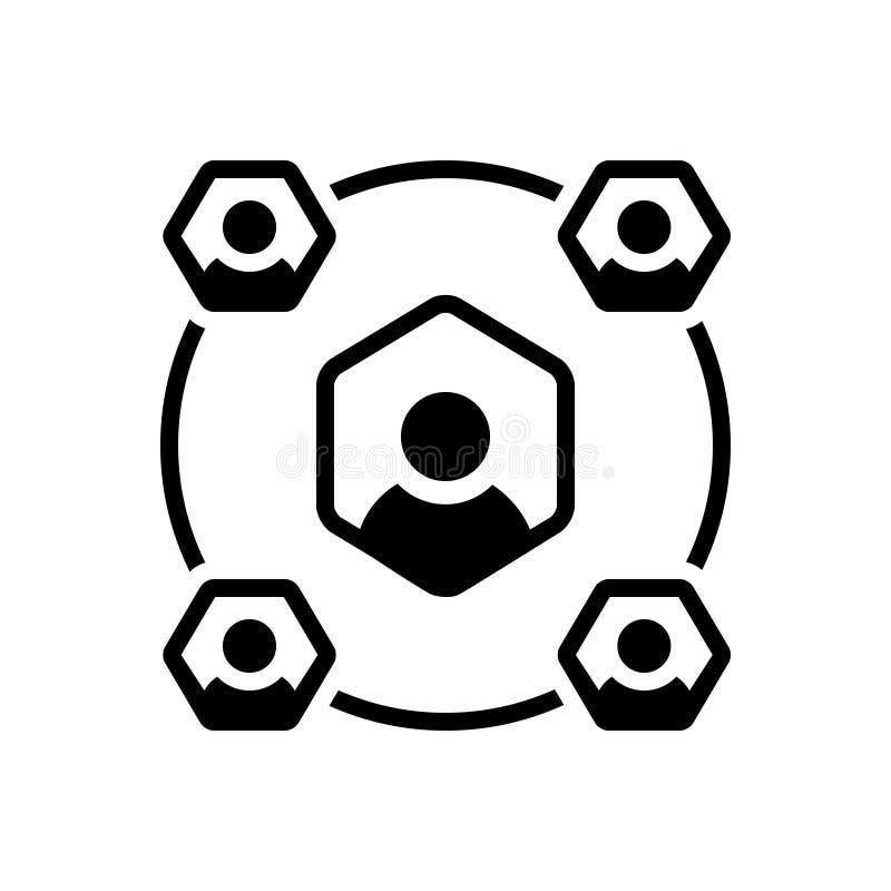 Zwart stevig pictogram voor de Sociaal dienst, arbeider en netwerk vector illustratie