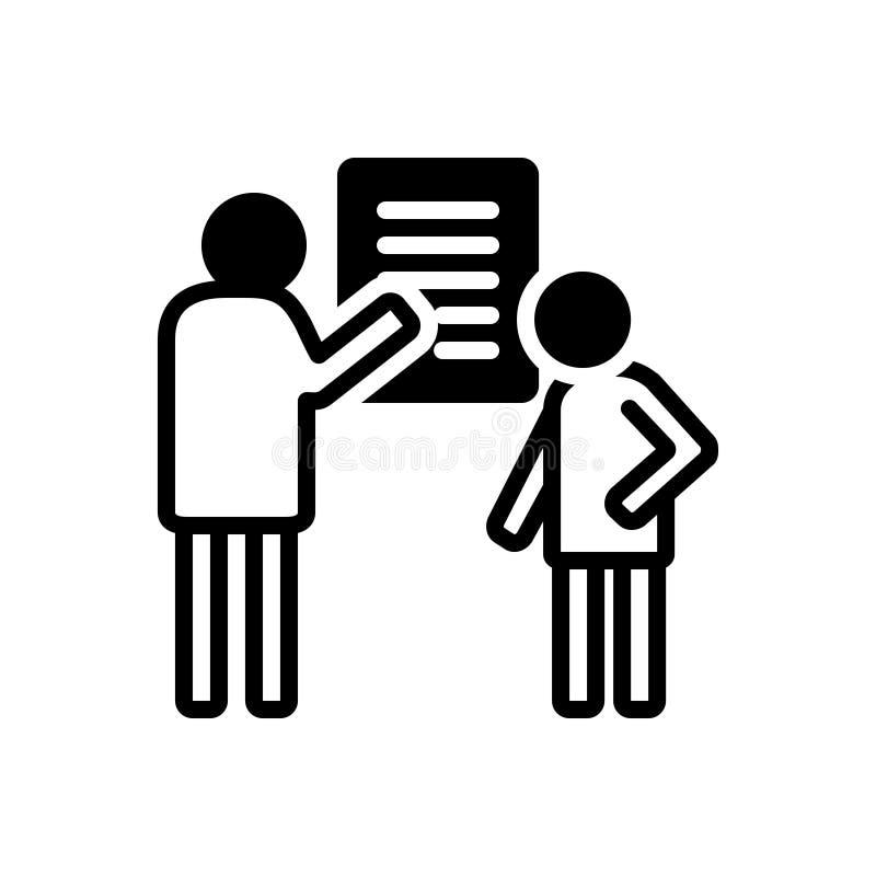 Zwart stevig pictogram voor Debrief, mededeling en het adviseren vector illustratie