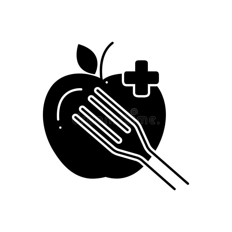 Zwart stevig pictogram voor Dieetvoeding, gezond en voedzaam stock illustratie