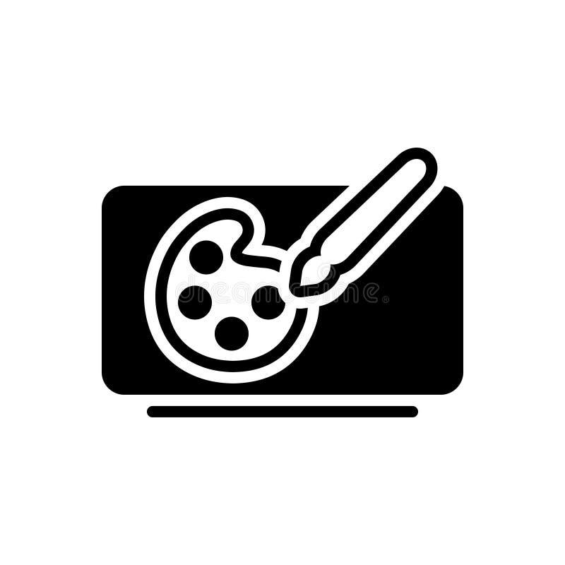 Zwart stevig pictogram voor Digitale Kunst, digitaal en vast vector illustratie