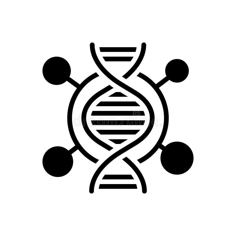Zwart stevig pictogram voor DNA, genetisch en test stock illustratie