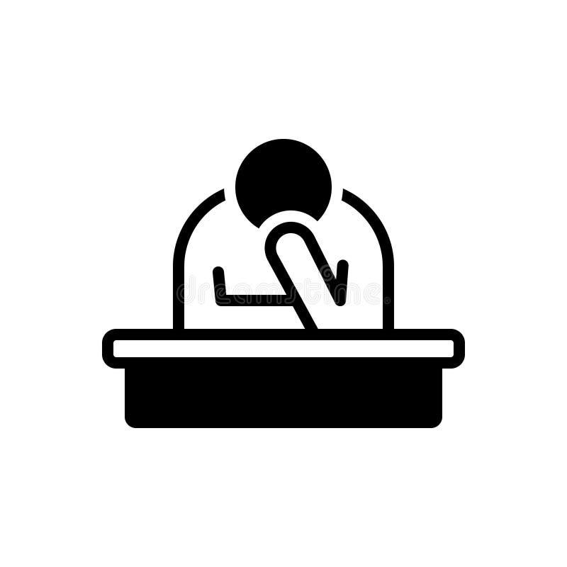 Zwart stevig pictogram voor Droevig, ongerust gemaakt en droefheid vector illustratie