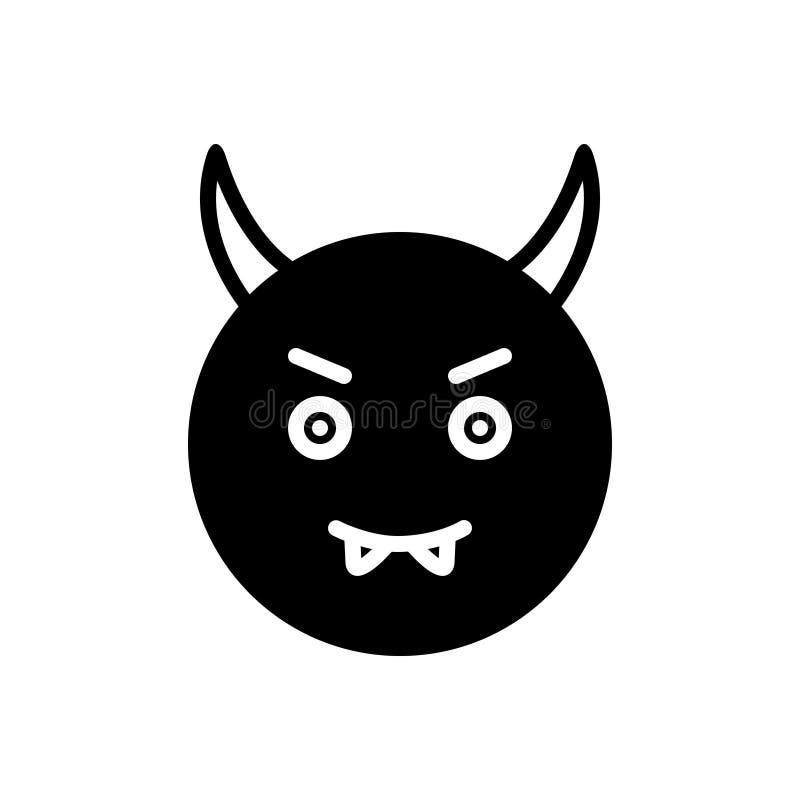 Zwart stevig pictogram voor Duivel, kwaad en emotie royalty-vrije illustratie
