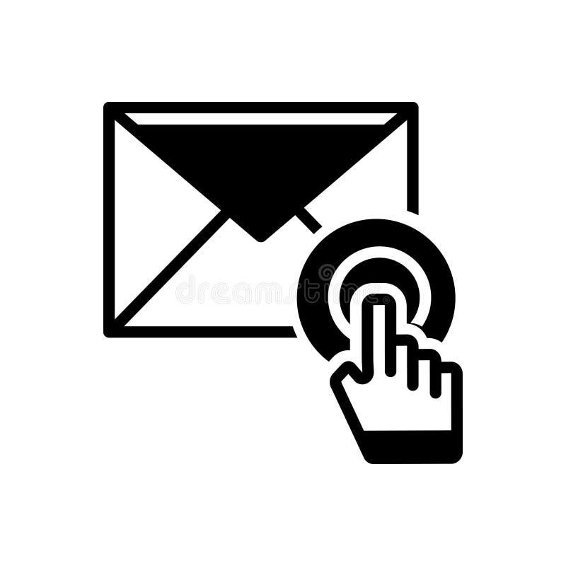 Zwart stevig pictogram voor E-mailabonnement, mededeling en envelop vector illustratie