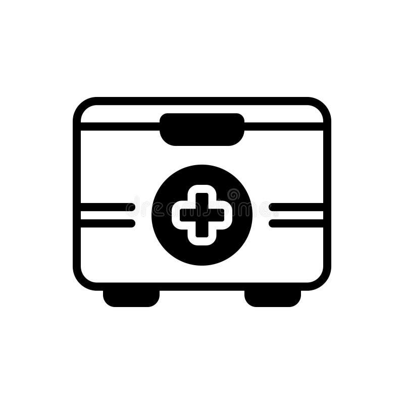 Zwart stevig pictogram voor Eerste hulpuitrusting, doos en apotheek royalty-vrije illustratie