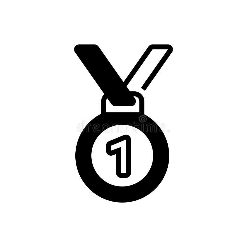 Zwart stevig pictogram voor Eerste Plaats, voltooiing en toekenning stock illustratie