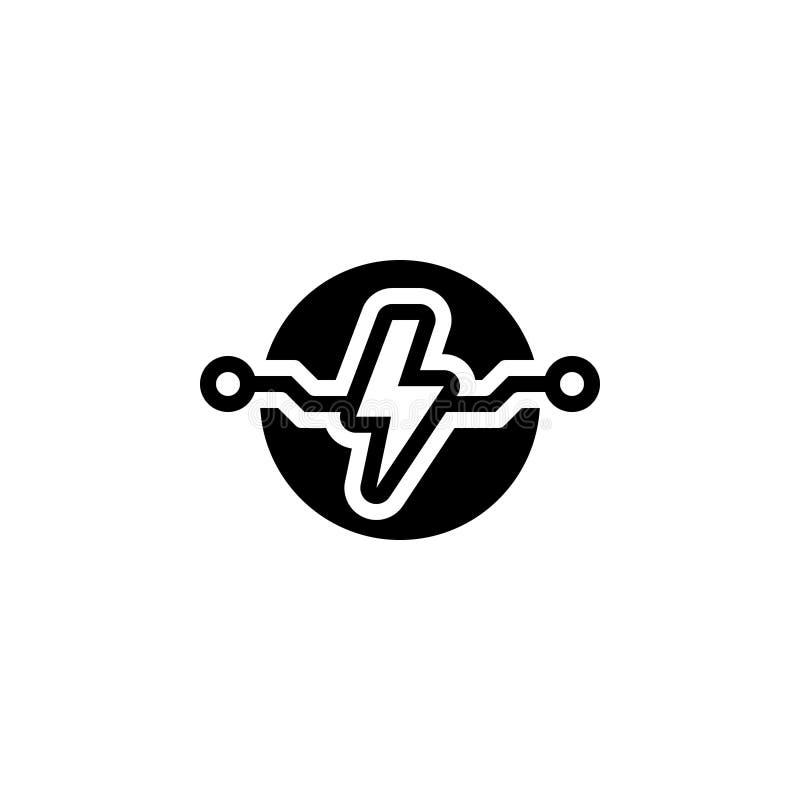 Zwart stevig pictogram voor Elektrisch, macht en elektriciteit stock illustratie