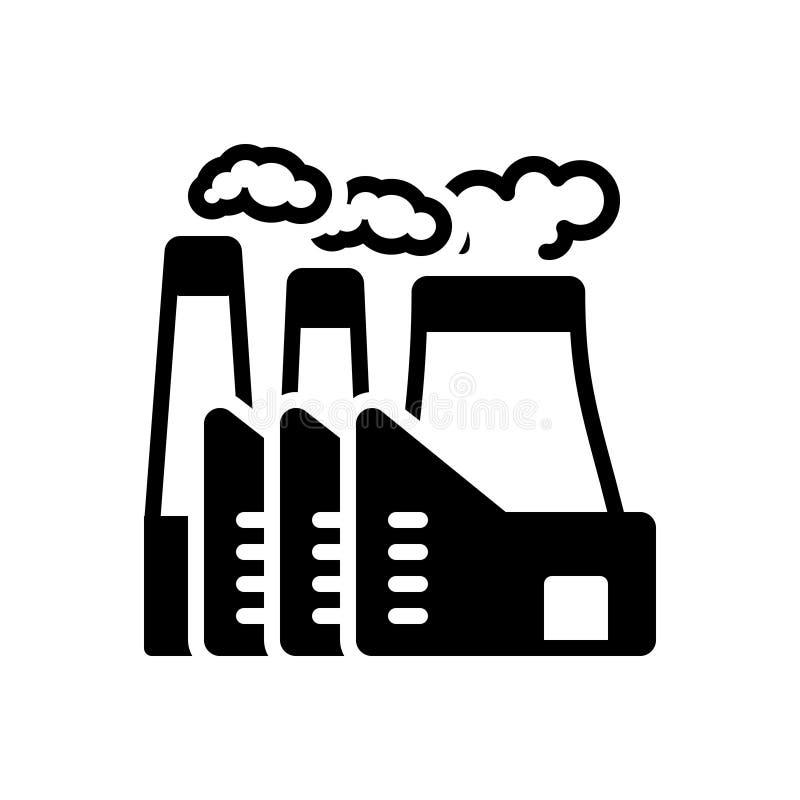 Zwart stevig pictogram voor Elektrische centrale, kerncentrale en thermisch royalty-vrije illustratie