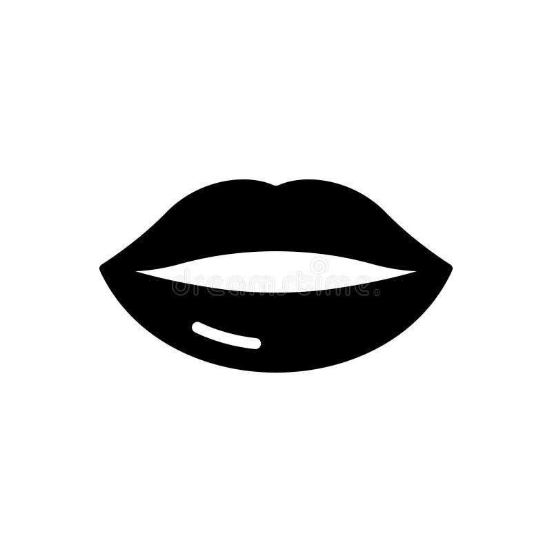 Zwart stevig pictogram voor en osculate Lippen, die kussen royalty-vrije illustratie