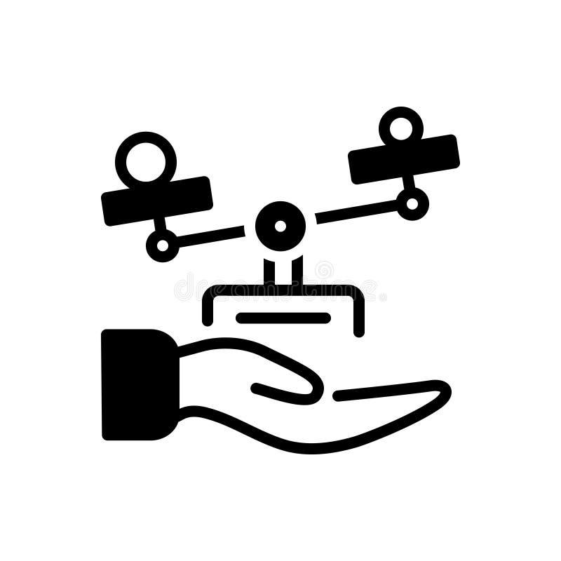 Zwart stevig pictogram voor Ethiek, moreel en ethisch vector illustratie