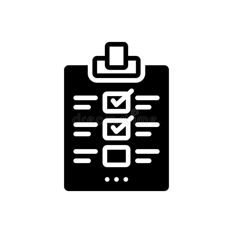 Zwart stevig pictogram voor Evaluatie, beoordeling en schatting vector illustratie