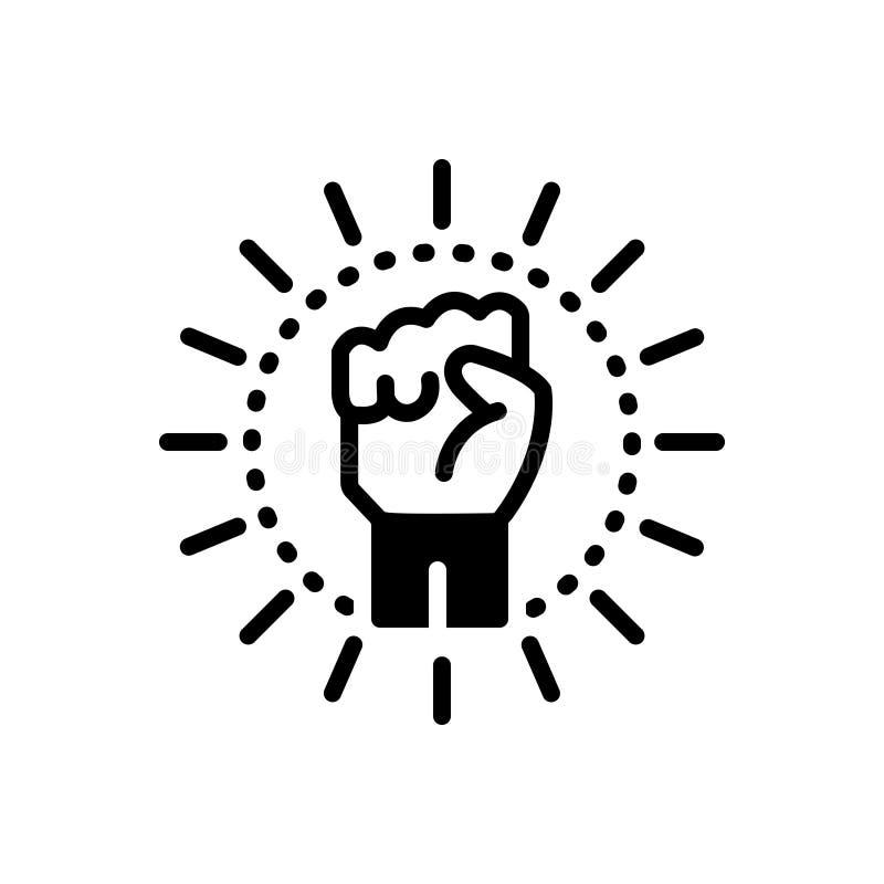 Zwart stevig pictogram voor Extremism, hand en putsch stock illustratie