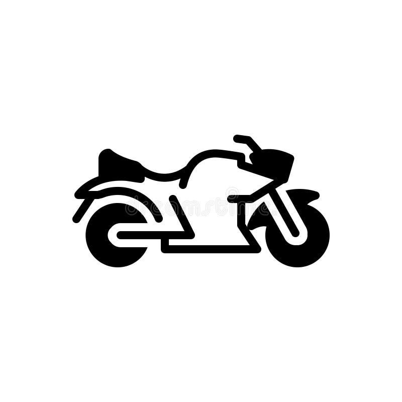 Zwart stevig pictogram voor Fiets, motor en reis stock illustratie