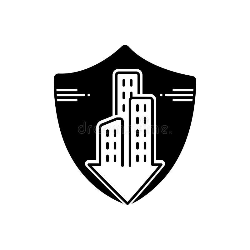 Zwart stevig pictogram voor Flatgebouw met koopflatsverzekering, hypotheek en flat vector illustratie