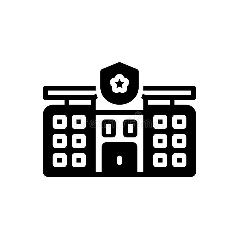 Zwart stevig pictogram voor Gebied, architecturaal en gezag royalty-vrije illustratie