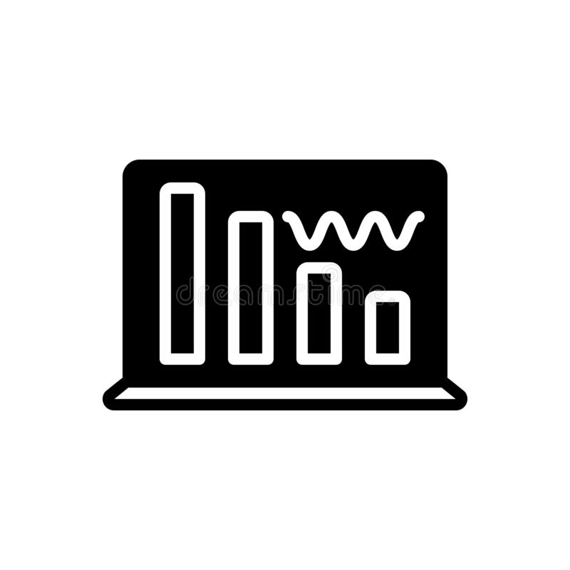 Zwart stevig pictogram voor Gegevensgolf, interface en geluid vector illustratie