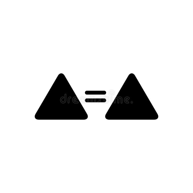 Zwart stevig pictogram voor Gelijke, teken en zelfde vector illustratie