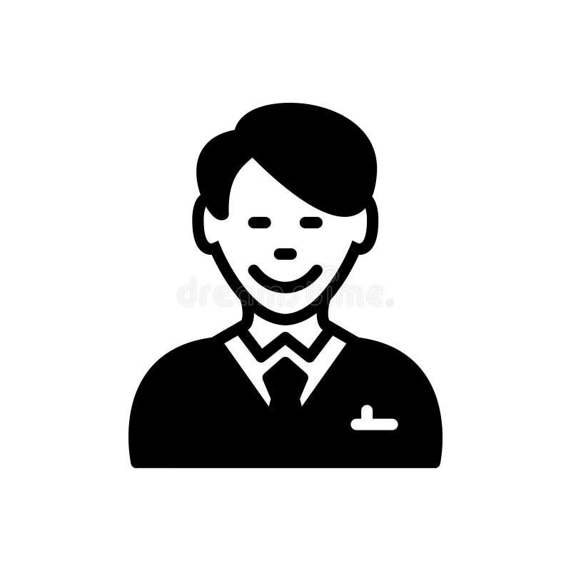 Zwart stevig pictogram voor Gelukkige Cliënt, klant en abonnee vector illustratie