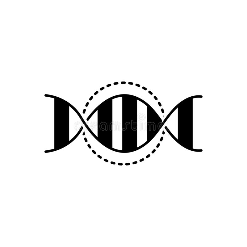 Zwart stevig pictogram voor genetische DNA, test en spiraal royalty-vrije illustratie