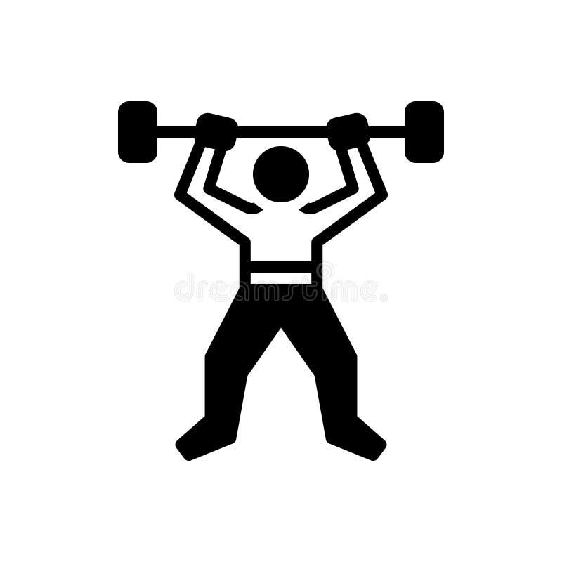 Zwart stevig pictogram voor Geschiktheid, robuustheid en training vector illustratie