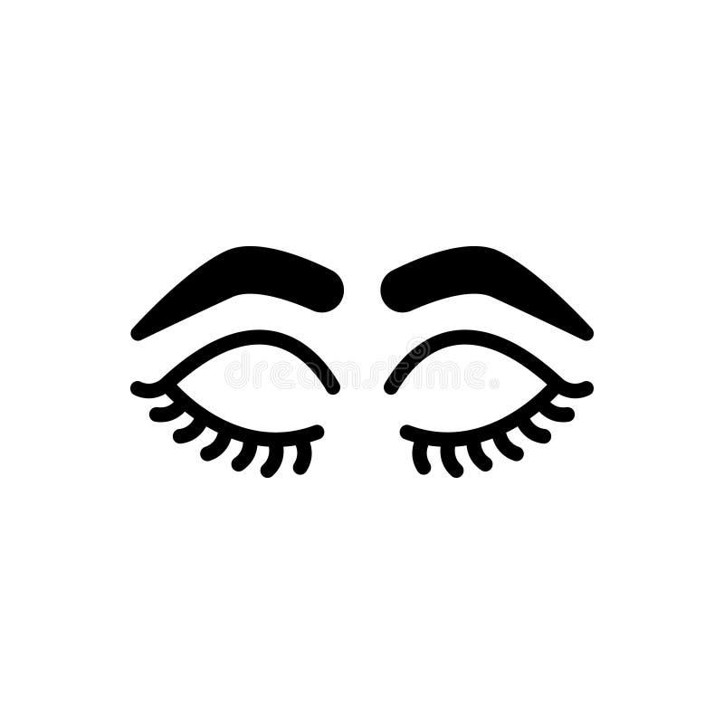 Zwart stevig pictogram voor Gesloten Ogen met Zwepen en Brows, glamour en make-up royalty-vrije illustratie