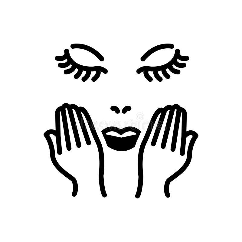 Zwart stevig pictogram voor Gezichtszorg, was en skincare stock illustratie