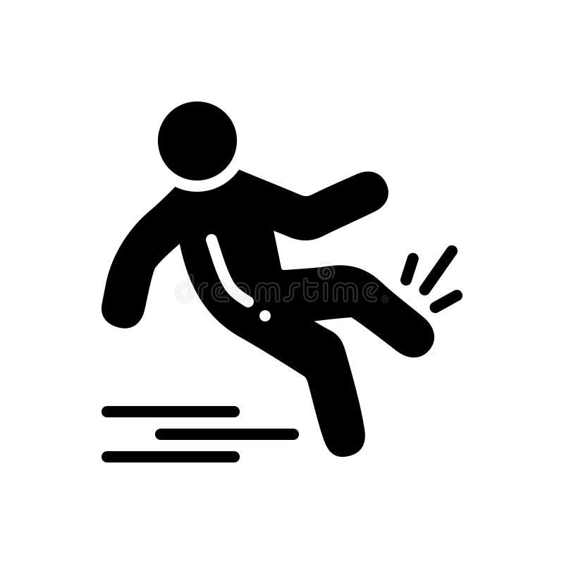 Zwart stevig pictogram voor Glad, misstap en daling royalty-vrije illustratie