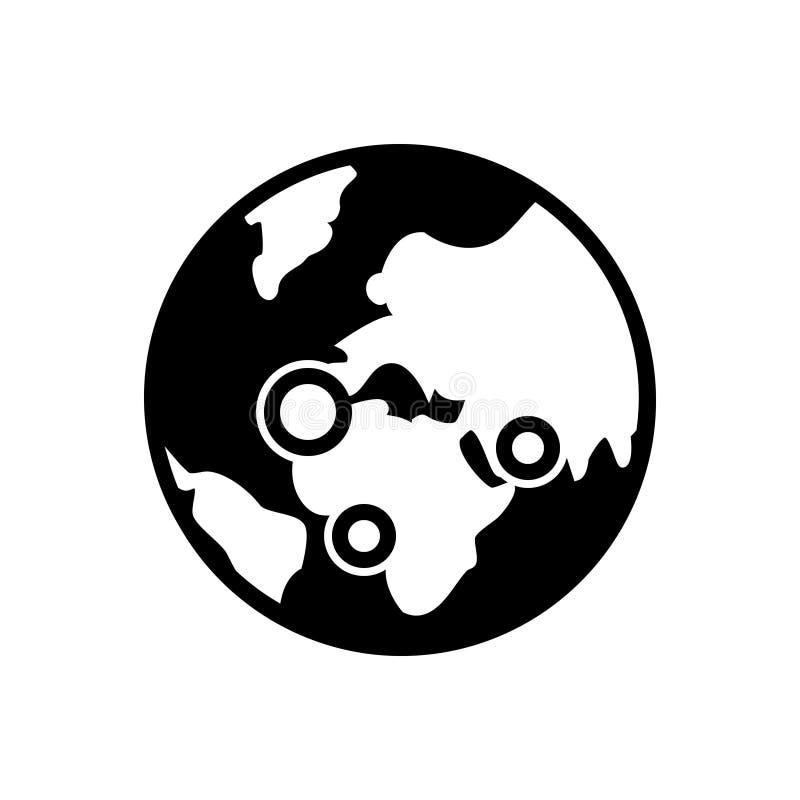 Zwart stevig pictogram voor Globaal, mededelingen en netwerk royalty-vrije illustratie