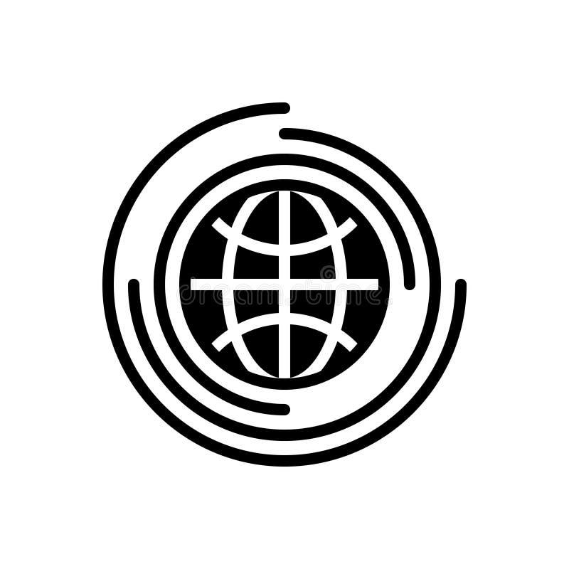 Zwart stevig pictogram voor Globaal, universeel en milieu royalty-vrije illustratie