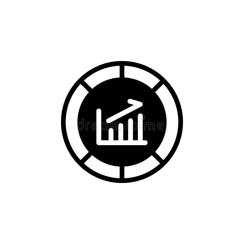 Zwart stevig pictogram voor Grafiek, diagram en investering stock illustratie