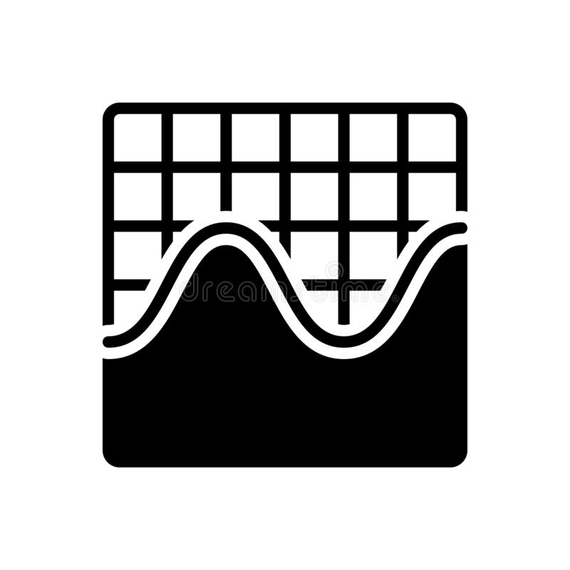 Zwart stevig pictogram voor Grafische Sinusgolf, frequentie en golfvorm stock illustratie