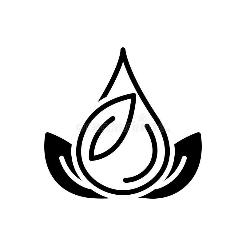 Zwart stevig pictogram voor Groen, aard en grasrijk vector illustratie