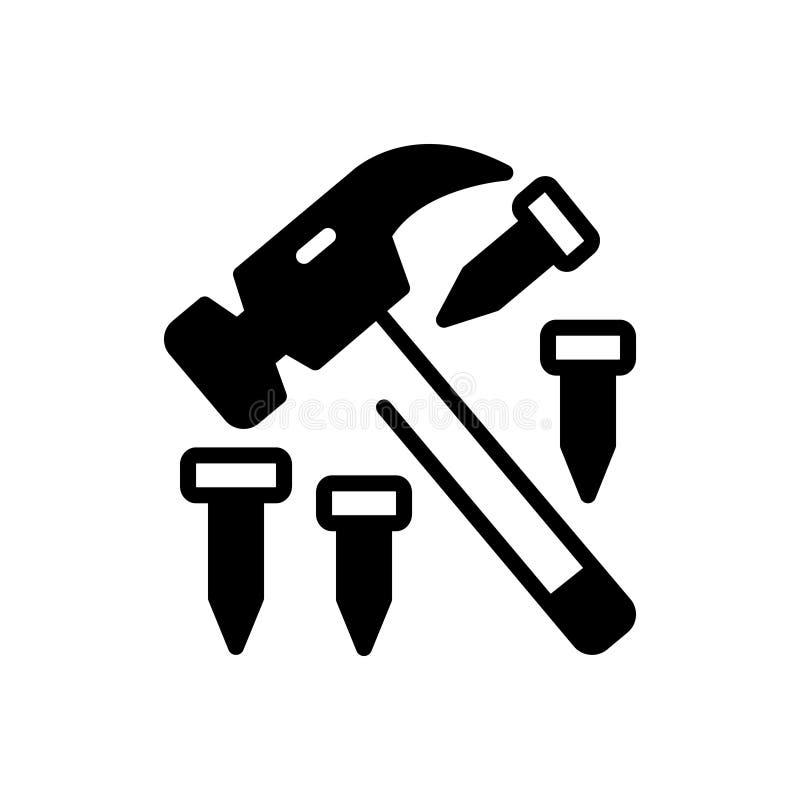 Zwart stevig pictogram voor Hamer en spijker, hardware en hulpmiddel royalty-vrije illustratie