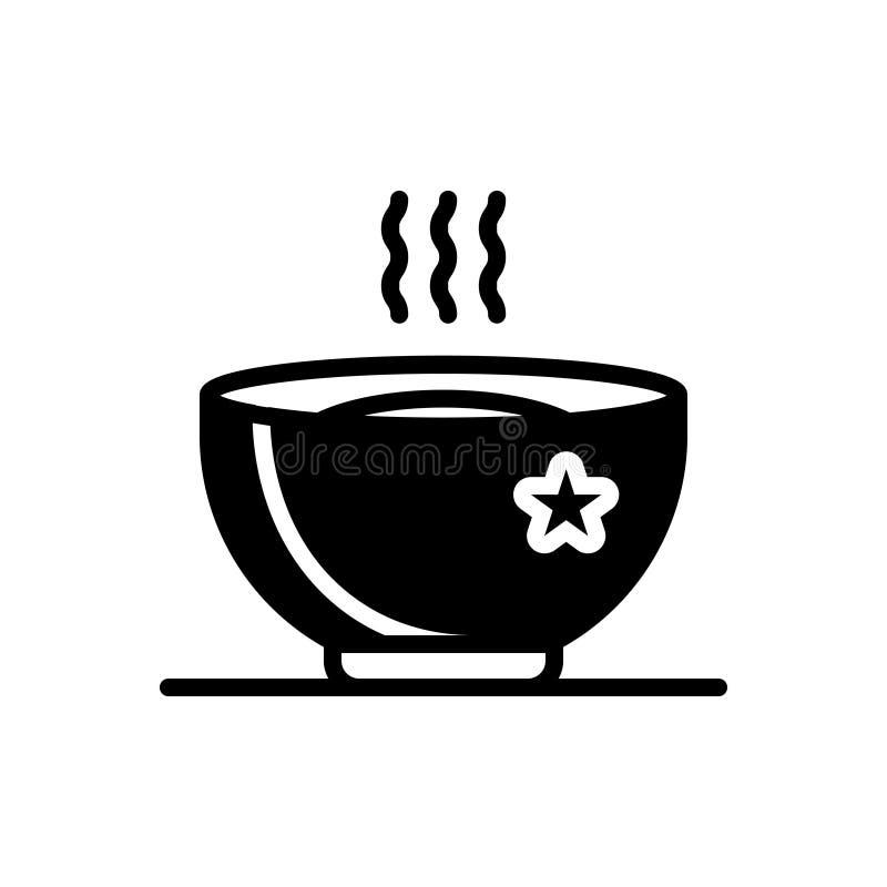 Zwart stevig pictogram voor Heet, soep en warm vector illustratie