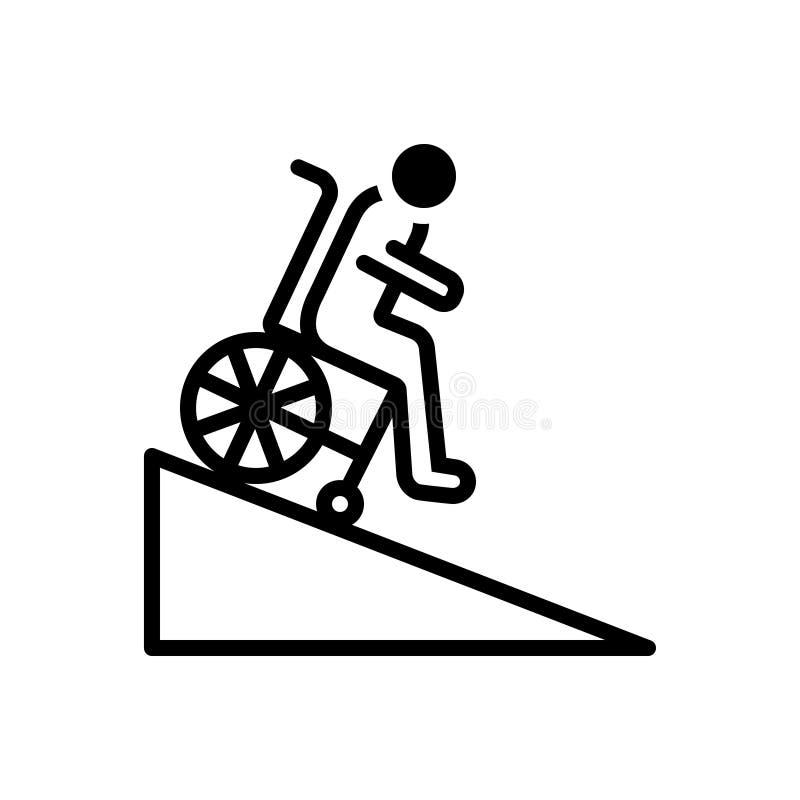 Zwart stevig pictogram voor Helling, handicap en rolstoel royalty-vrije illustratie