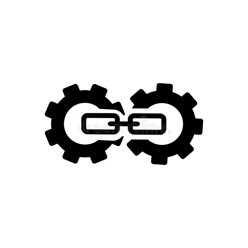 Zwart stevig pictogram voor het Achterverbinding, Optimalisering en blogging stock illustratie